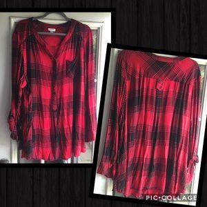 Avenue 24/26 3x Black Red plaid check shirt top